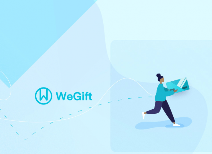 WeGift's logo, with cartoon delivery person running with package against a light blue background.