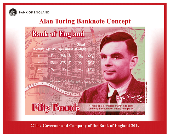 A concept image of the £50 note coloured red with Alan Turing and other items associated within surrounding him.