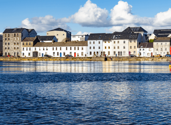 Houses on the Claddagh along coast of Galway city.
