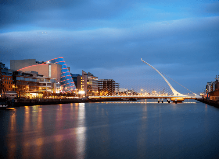 A view of the Liffey, the Samuel Beckett bridge near Dublin's IFSC where Assure Hedge is located.