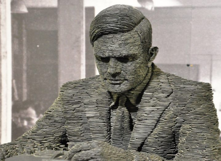 close-up on grey sculpture of Alan Turing.