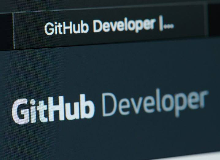 View of slate grey black GitHub developer home page on a computer screen.