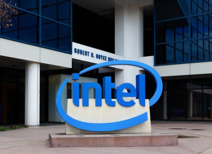 A sign bearing the Intel logo stands outside its corporate headquarters in Santa Clara, California.