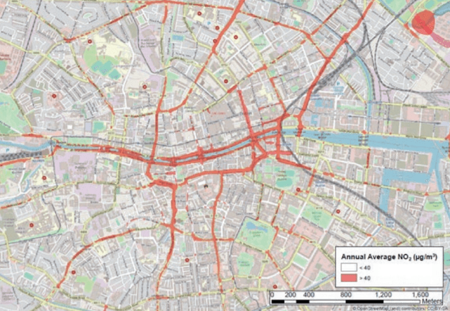 A map of Dublin city centre showing streets exceeding safe NO2 limits marked in red.