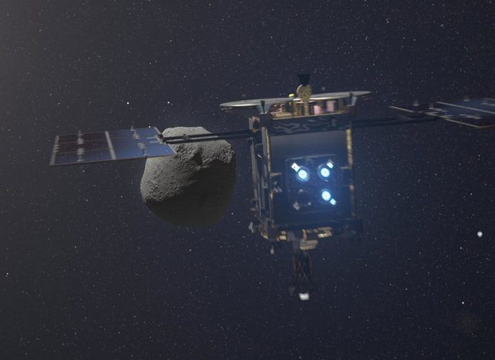 3D illustration of Hayabusa2 approaching Ryugu against the blackness of space.