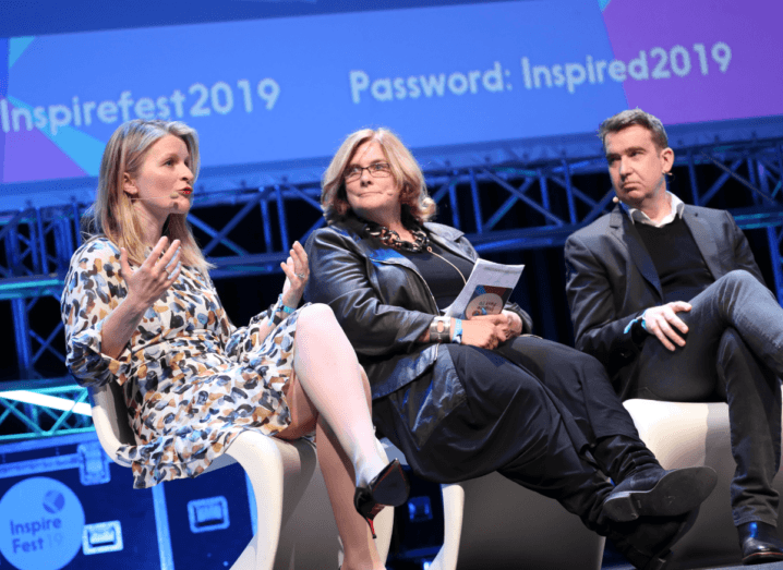 Áine Kerr, Jane Suiter and Mark Little sit onstage at Inspirefest 2019, during the panel on disinformation.