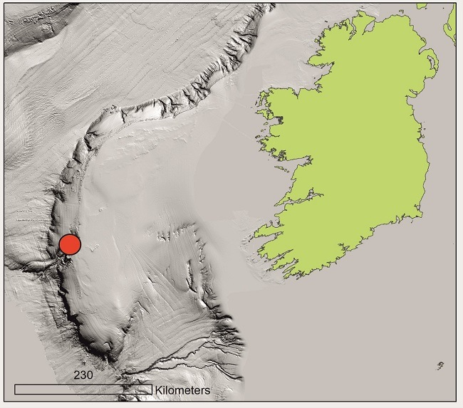 Map of Ireland and Porcupine Bank with a red dot showing where the plastic was found.