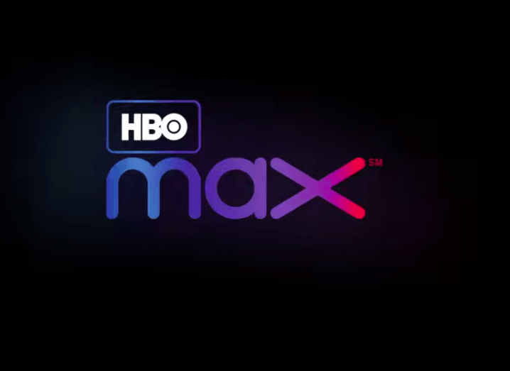 View of blue and purple and red HBO Max logo on black background.