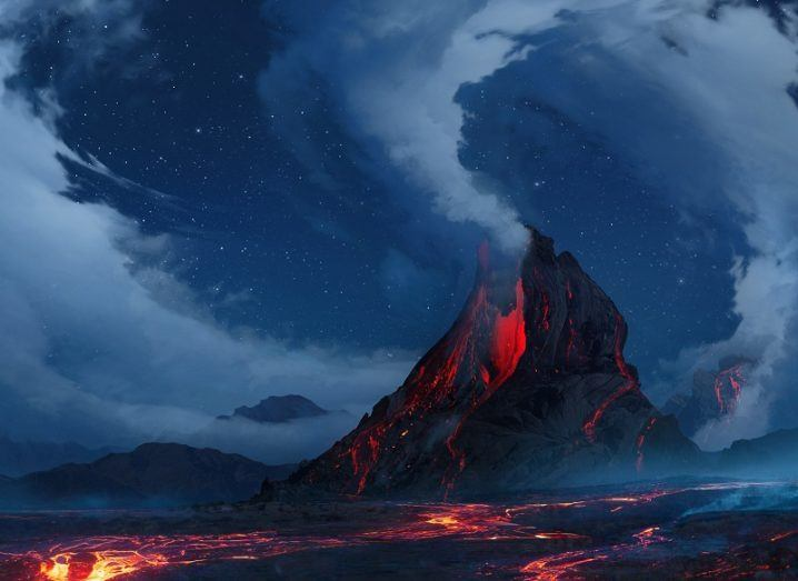 Illustration of an enormous, active volcano emitting large quantities of pollutants into the atmosphere.
