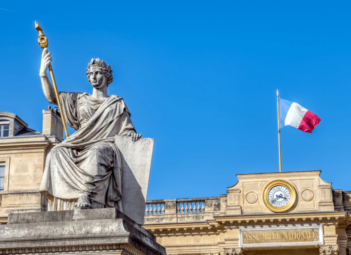 A statue at the rear entrance of French National Assembly.