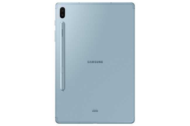 Rear view of the Samsung Galaxy Tab S6 with a stylus on the back.