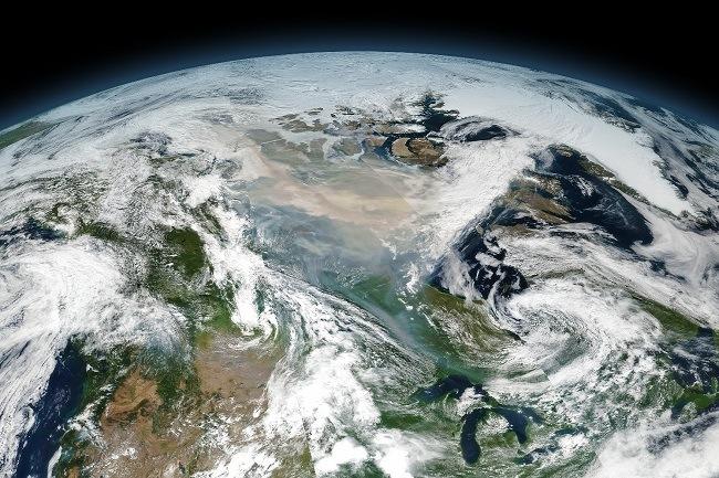 Satellite image in orbit of the 2017 mega cloud.