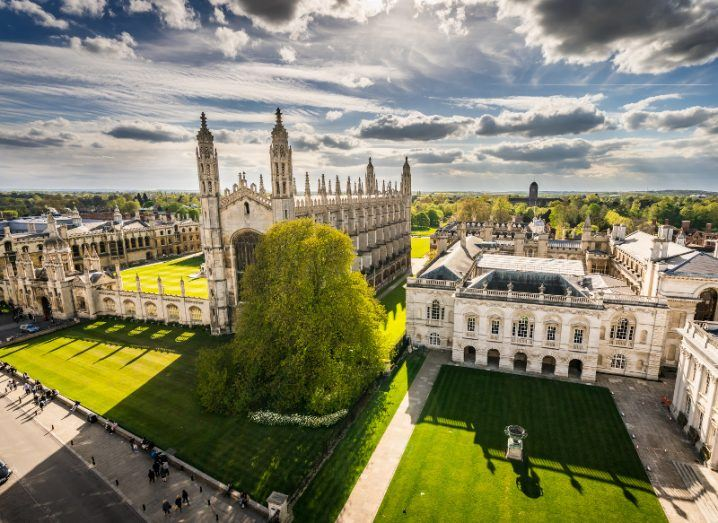 High angle view of the city of Cambridge on a beautiful sunny day.