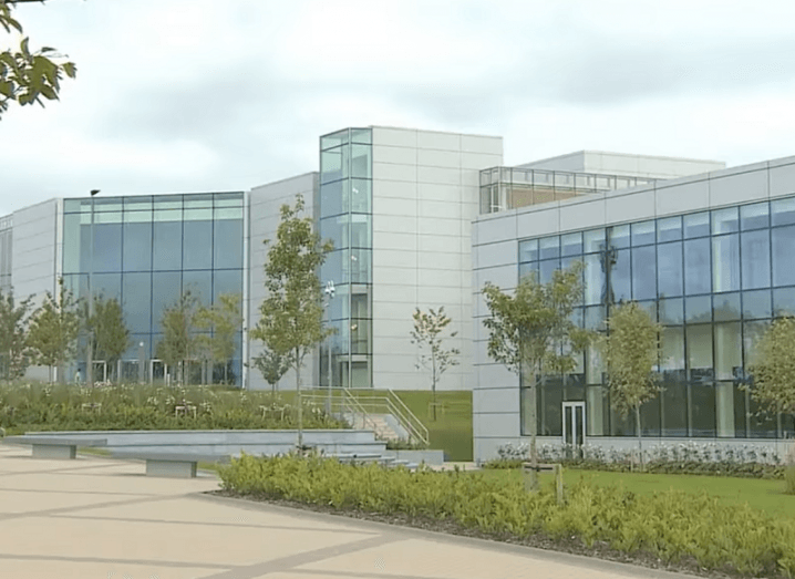 Apple's Hollyhill Cork campus with greenery in front of it.
