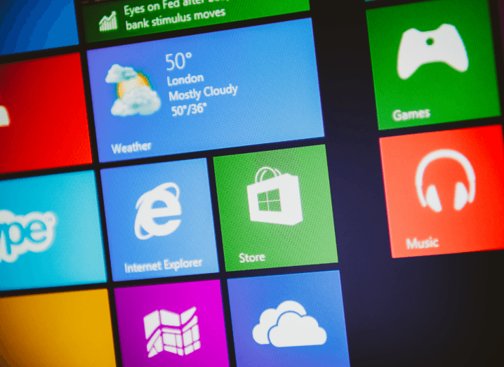 App icons on Microsoft Windows 10 for Internet Explorer, Skype, music, games and the weather forecast.