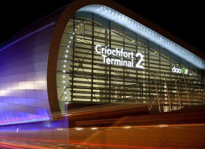 Terminal 2 at Dublin Airport shot at night.