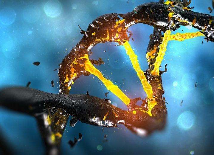 DNA helix shown fracturing coloured yellow and black.