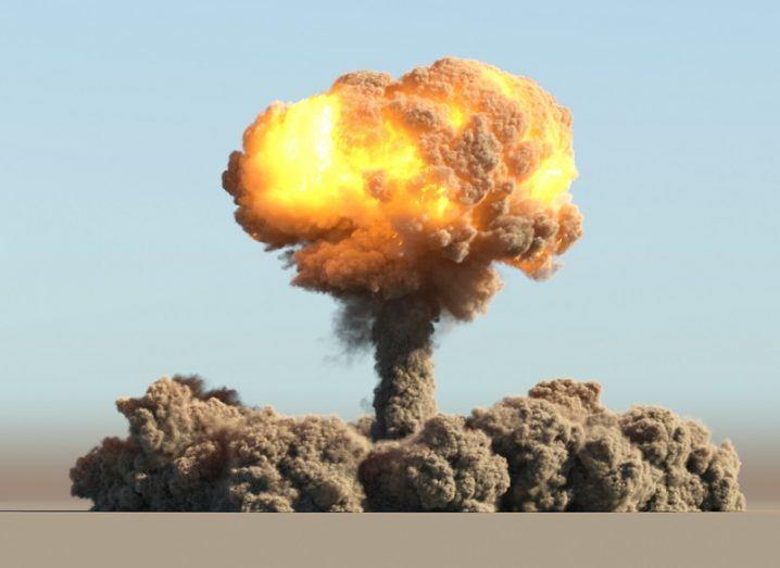 3D render of an atomic explosion in a desert.
