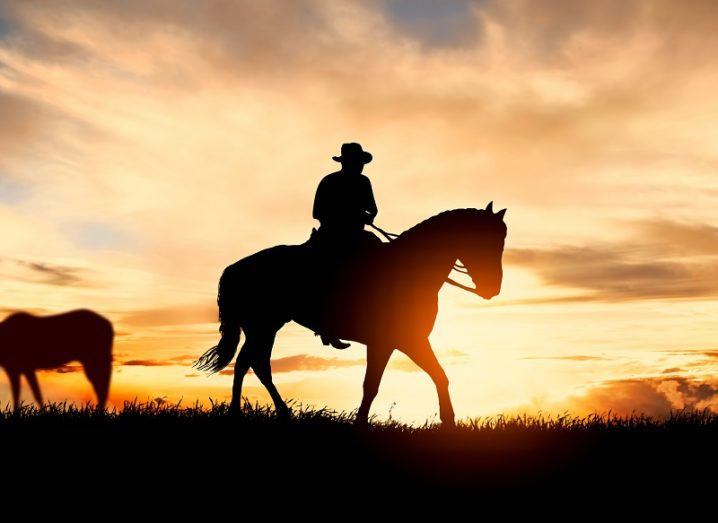 Silhouette of a cowboy on a horse against a sunset background.