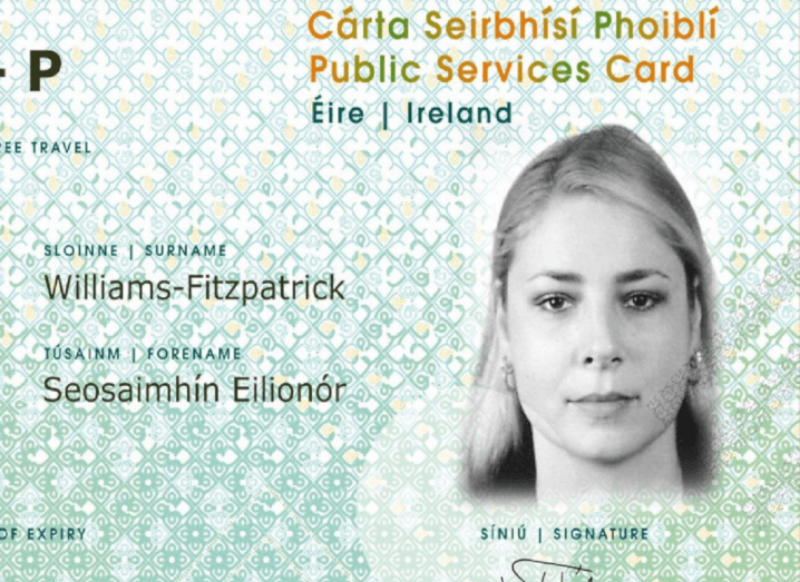 A sample mock-up of the Public Services Card (PSC), which features an image of a young woman.