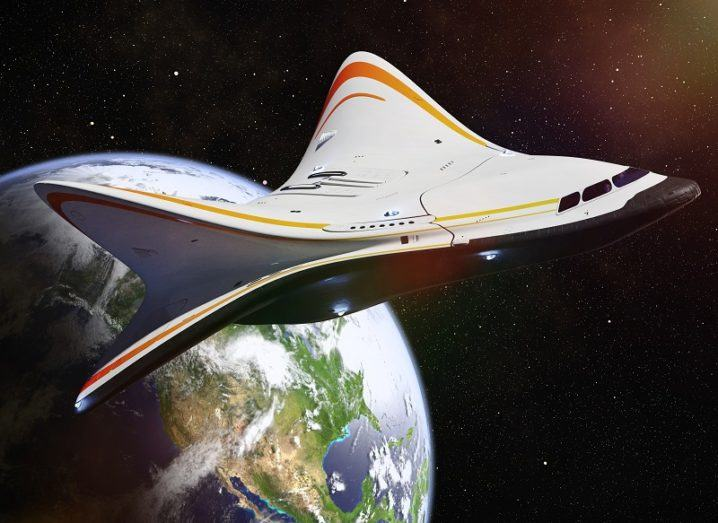 3D render of a futuristic space shuttle with sloped wings in Earth's orbit.