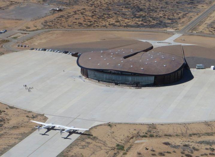 Aerial shot of Virgin Galactic Spaceport America and terminal building.