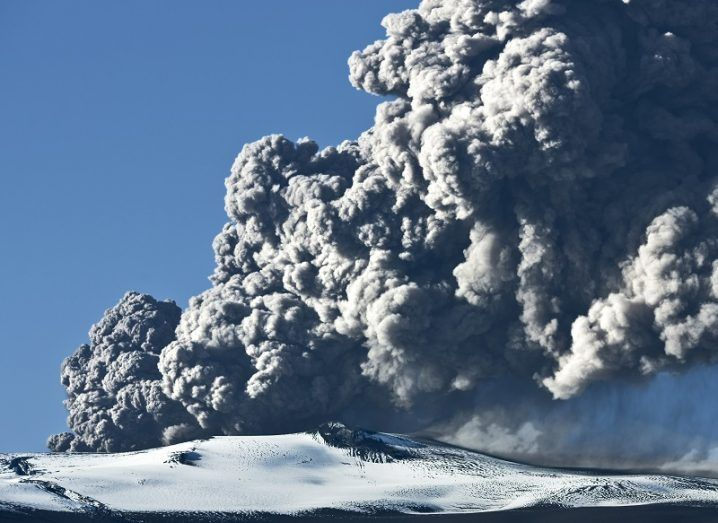 Ash cloud rising from the Eyjafjallajokull volcano in Iceland.