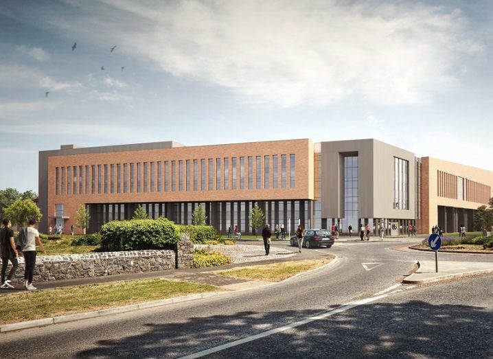 3D render of the new Maynooth University campus with students walking by.