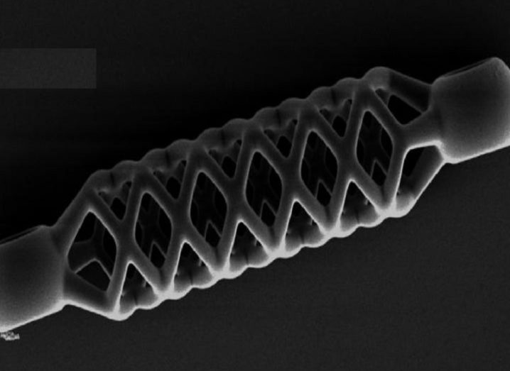 Image taken by a microscope of the stent coloured black and white.