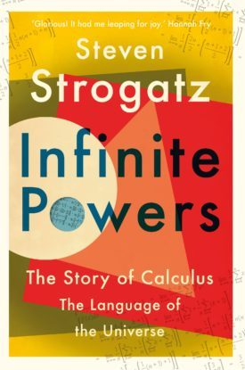 Book cover for Infinite Powers filled with geometric shapes.