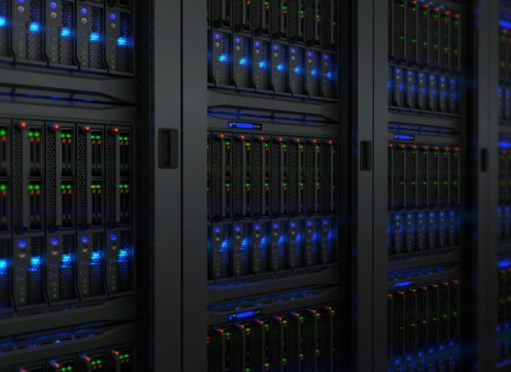 View of mutlicoloured digital lights of the servers of data centres.