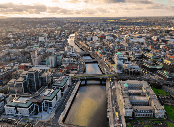 An aerial view of Dublin City centre from the eastern end of the Liffey, overlooking the Custom House, Ulster Bank and Butt Bridge.