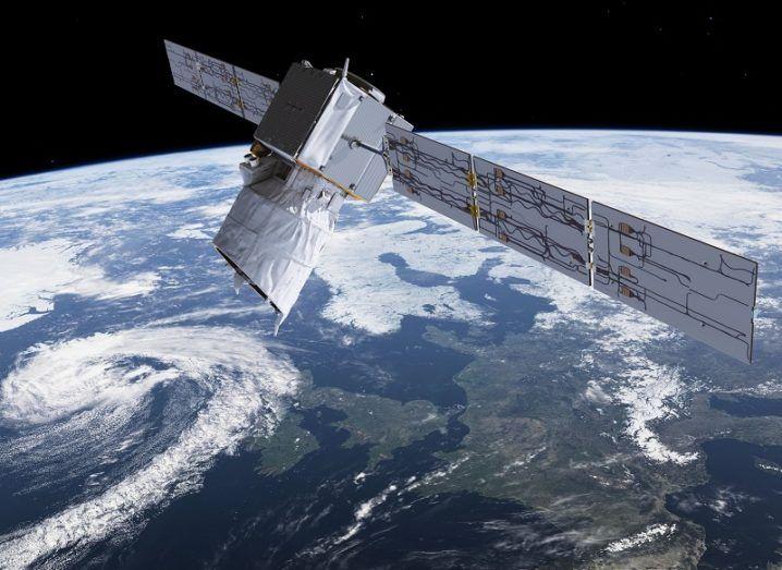 Illustration of ESA's Aeolus satellite in orbit.
