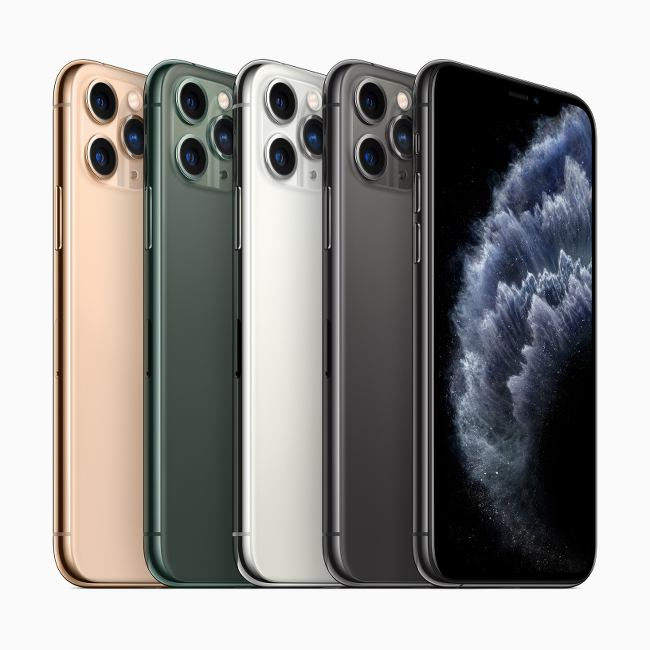 A line-up of five iPhone 11 smartphones in four different finishes.