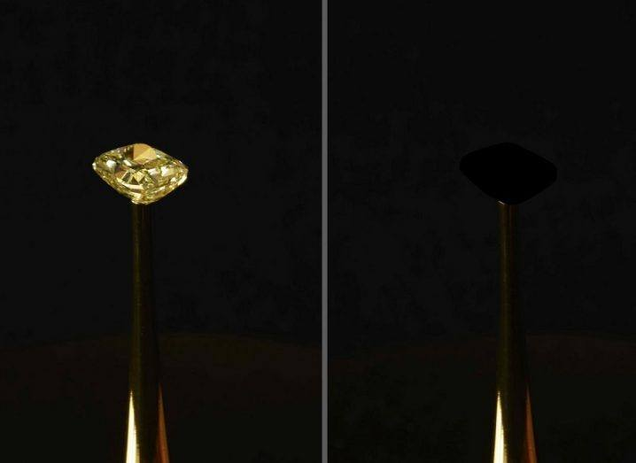 A comparison image of the diamond with and without the new blackest material.