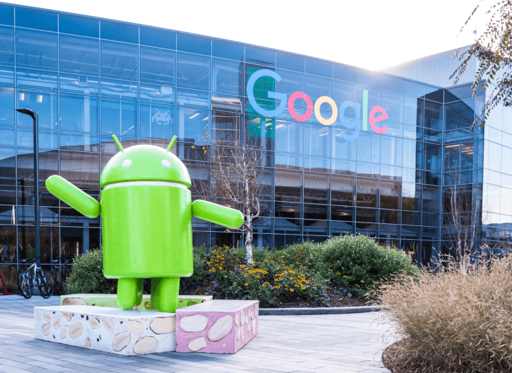 A large Android figure stands outside of Google's Mountainview, CA, headquarters.