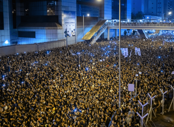 Two million protestors on the streets of Hong Kong.