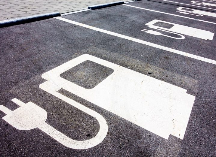 Empty parking spaces for EV charging.