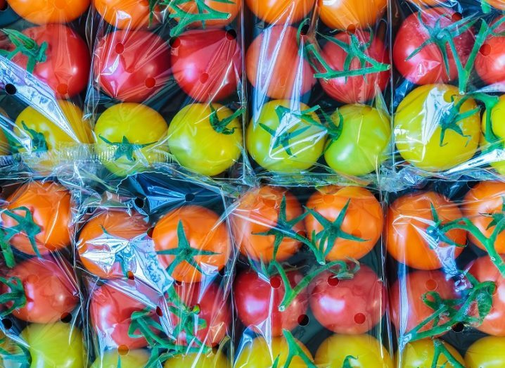 Display of yellow, orange and red tomatoes all wrapped in single-use plastics.