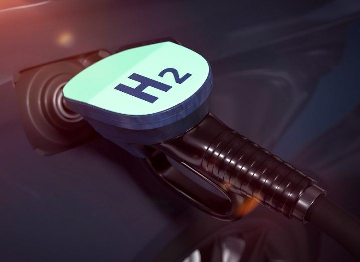 3D illustration of a hydrogen fuel pump in a vehicle.