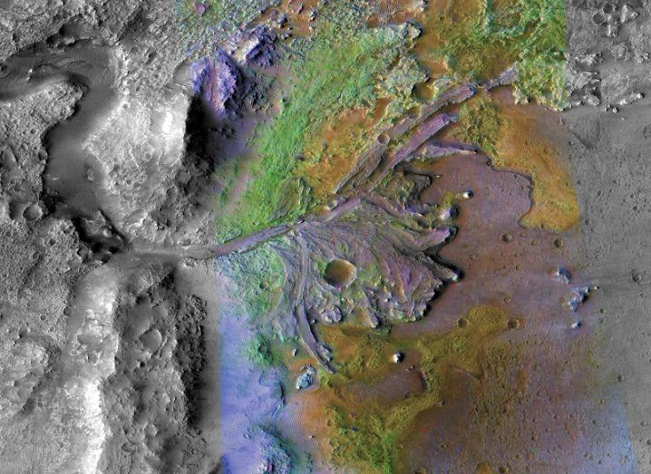 Infrared image of the Jezero Crater on Mars as seen from orbit.