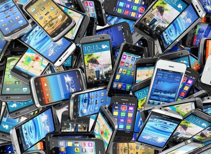 Huge pile of smartphones.