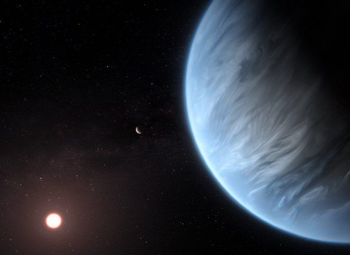 Illustration of a blue planet with a nearby star to the left of it.