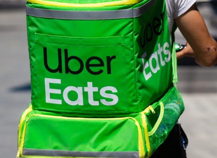 Green bag of an Uber Eats delivery person.
