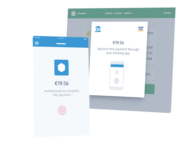 Sample screens showing how a payment might defer to a banking app for authentication via fingerprint.