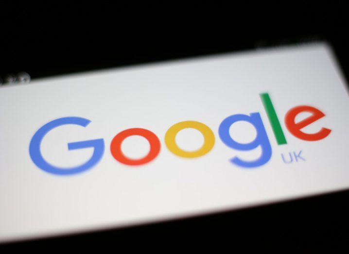 View of Google UK logo with trademark blue, yellow red and green lettering.