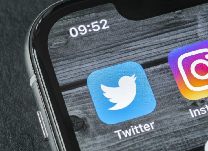 View of Twitter app icon on smartphone screen.