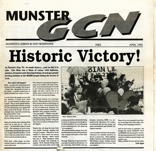 Front page of the Munster GCN newspaper featuring Cork LGBTQ parade.