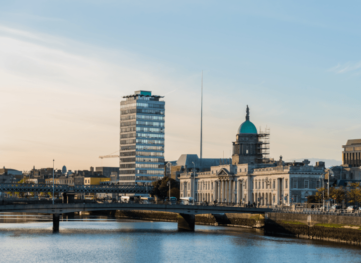 Dublin's skyline from the south side of the quays. The Custom House, Liberty Hall, the Spire and Butt Bridge are all visible in the shot taken in front of the Liffey.