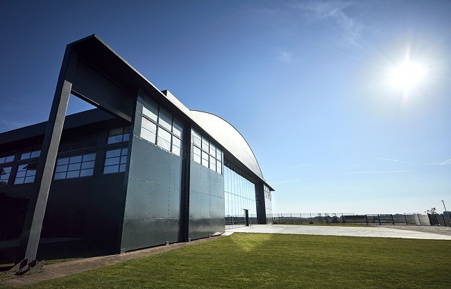 New Dyson campus at Hullavington airfield on a sunny day.